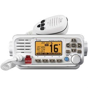 Radio VHF fixe ICOM M330G avec récepteur GPS et connectivité NMEA 0183 (blanc)